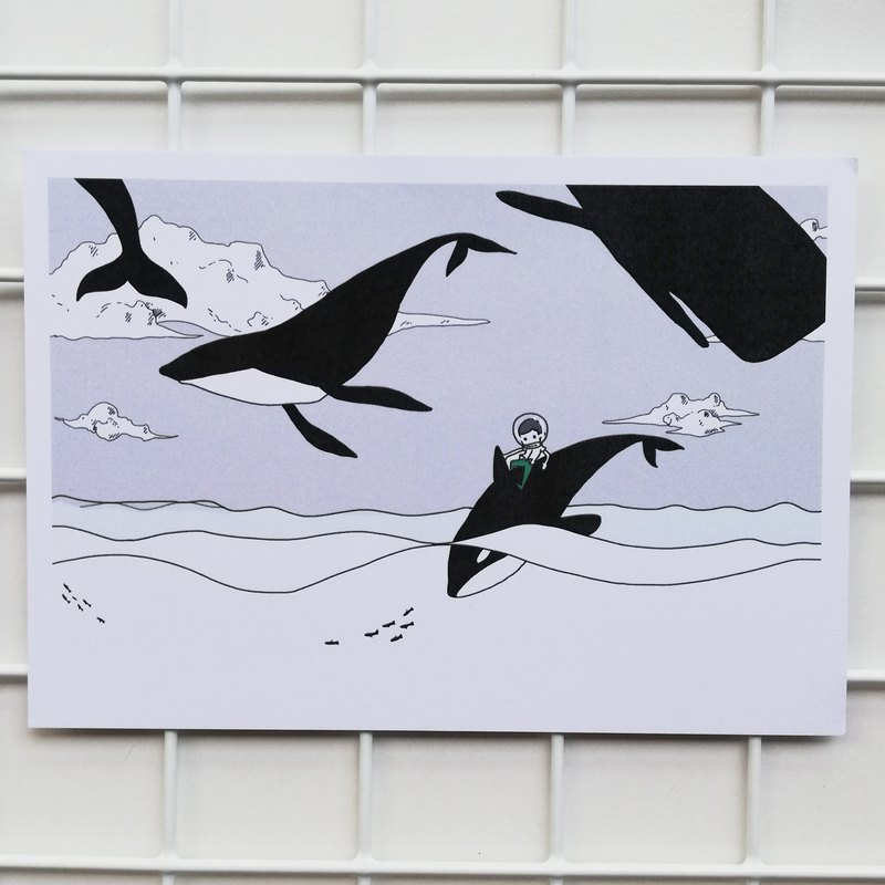 Whales in the air | postcard
