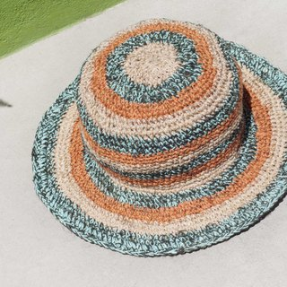 Hand-knitted cotton and linen cap knit hat fisherman hat visor straw hat - blue Mediterranean orange soda