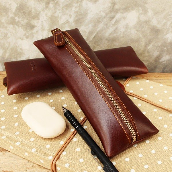 Pencil case - Flat - Brown (Genuine Cow Leather) / Pen case / Accessories case