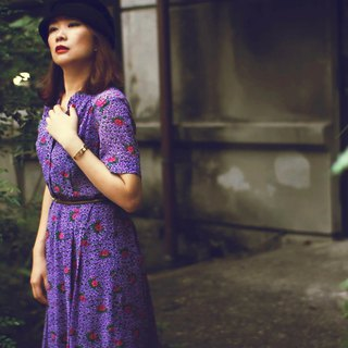 Purple flower chiffon short-sleeved vintage dress / abroad brought back VINTAGE