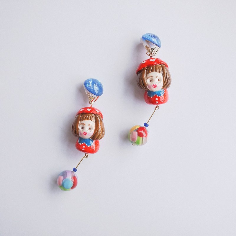Clay Earrings Little Red Riding Hood Fun Color Earring Earrings