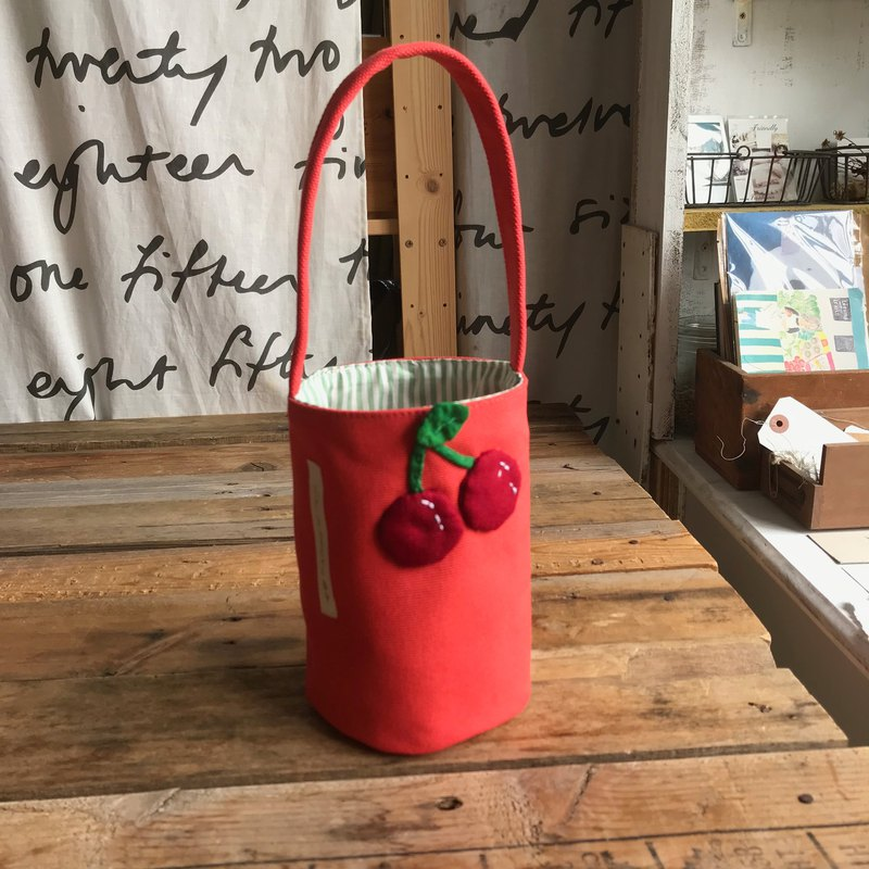Cherry drink bag / kettle bag / coral red bottom
