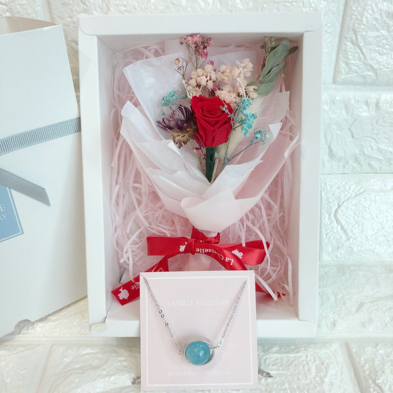 Preserved Flower Box  Personalized Blue Crystal Necklace Birthday Wedding gift