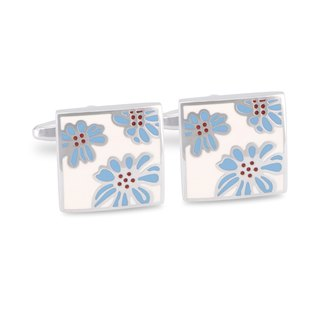 White Enamel with Light Blue Floral designed Cufflinks