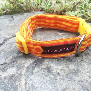Chain hair child collar - Wenqing lattice small sun orange 2 cm wide version [Spot]