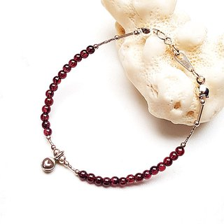 <Pet Love Series-Happiness> Wine Red Garnet 925 Sterling Silver Bracelet Customized Christmas Silve