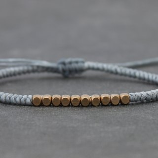 Cube Brass Beads Grey Woven Bracelets Simple Basic Unisex Brass Beaded