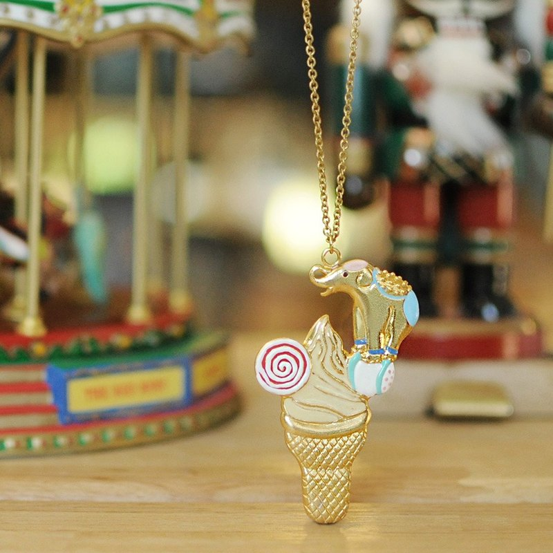 Circus elephant balancing on an ice cream cone, Elephant pendant, Elephant necklace