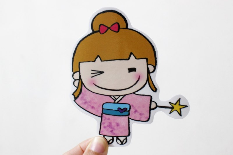 Waterproof stickers (large) _ kimono girl