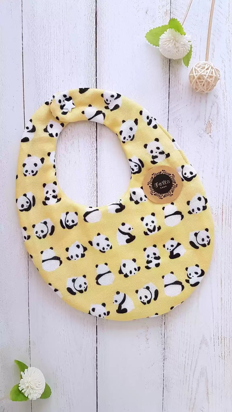 Eight yarn 100%cotton double-sided egg bib saliva towel - golden panda
