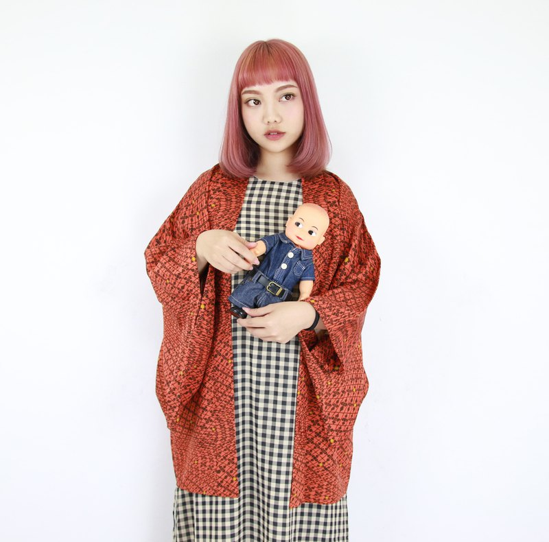 Back to Green-Japan brought back feather woven kimono brick orange full grid / vintage kimono