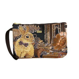 Silk flower woven simple clutch bag rabbit house coffee