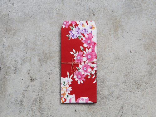 Floral paper red bag / red