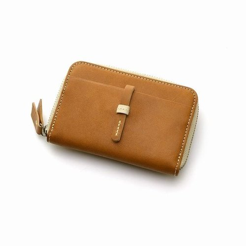 Genuine leather coin case ladies camel handmade coin purse (cafe life series)