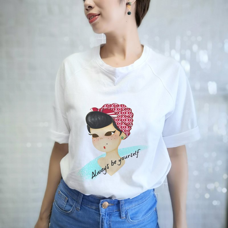 Retro styling T-shirt female version of the five-point sleeve shoulderless shoulder line white T-shirt short-sleeved