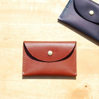 Easy business card holder / coin purse - round leather hand sewing (brown)