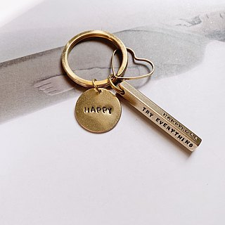 La Don - Brass Charm/Key Ring - Thick Stripe Hex - Custom Handwriting
