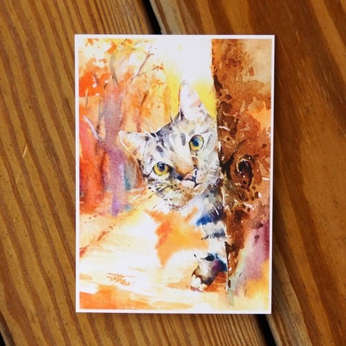 Water hairy child painting series Postcards <maple between a probe>
