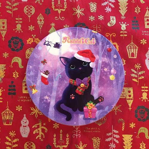 Christmas illustration black ceramic absorbent coasters / Rabbitcat
