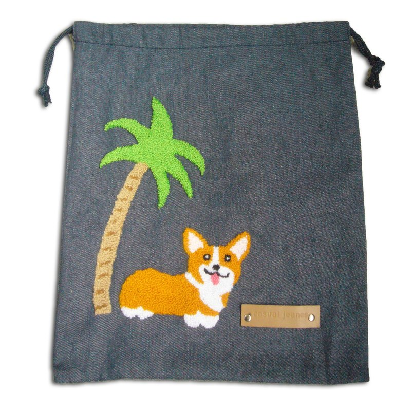 Corgi Drawstring Bag Gothic Rope Bag (Denim)