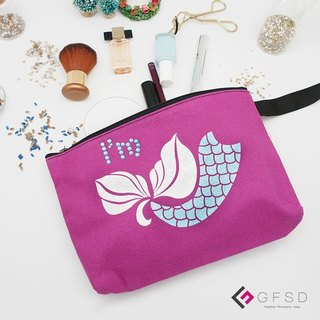 【GFSD】 Rhinestone Boutiques - Kid's Series - Lavender Purple 【Mermaid】 Handmade Multifunctional Cosmetic Bag