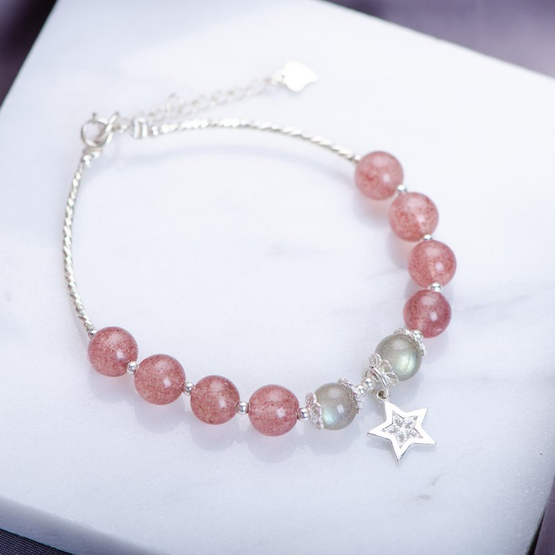 [Star picking] Strawberry crystal. Labradorite. 925 sterling silver stars pendant natural crystal bracelet