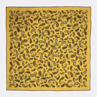Vintage yellow bottom amoeba antique silk scarf BL0013