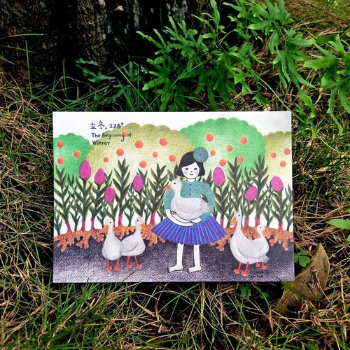 (Postcard buy 2 get 1 free) Taiwan's solar terms _ Li Dong _ Illustrator postcard _ ginger - female duck POST CARD