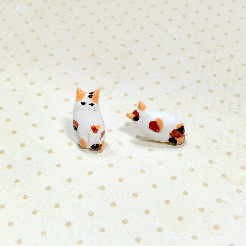 Tiny Calico Cat Earrings, Cat Stud Earrings, cat lover gifts