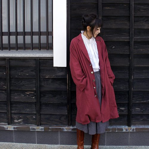 【免運】Slab linen 100% Raglan sleeve long coat * Lined interior /bordeaux
