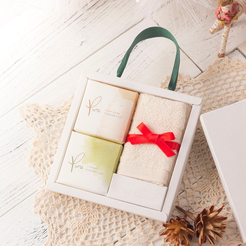Pure pure handmade soap - 2 into + square towel gift box (all kinds of festive gifts)