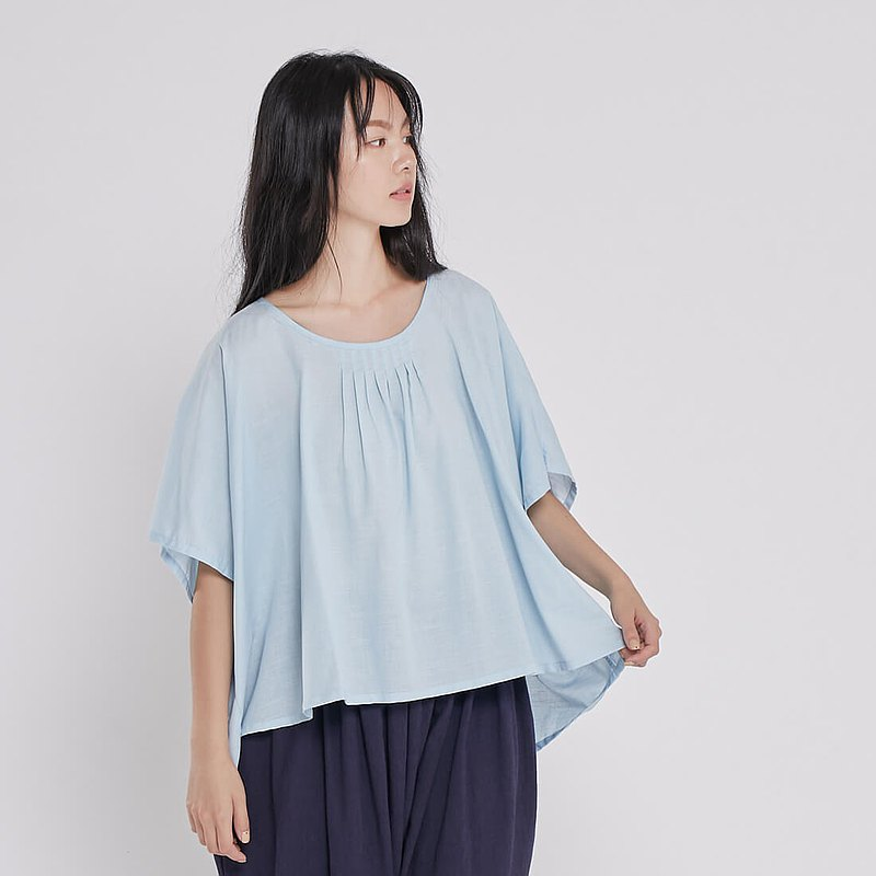 Blanche天絲棉麻圓領上衣/淺藍