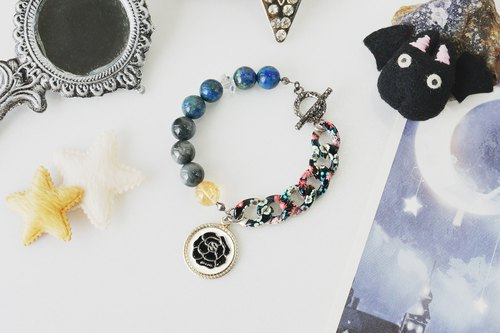 Black Rose Charm Bracelet with Cat's Eye, Chrysocolla, Citrine Crystals