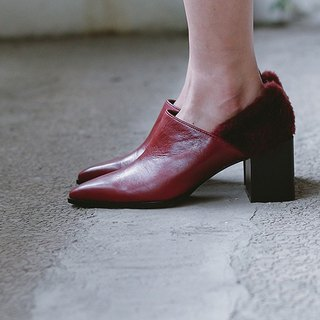 Followed by dug wool and pointed leather ankle boots red