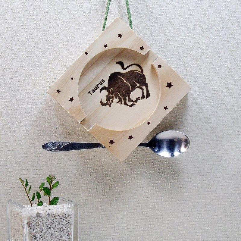 金牛座 Taurus 木材 止滑矽膠 手機座杯墊 免費刻印 名字 祝福語