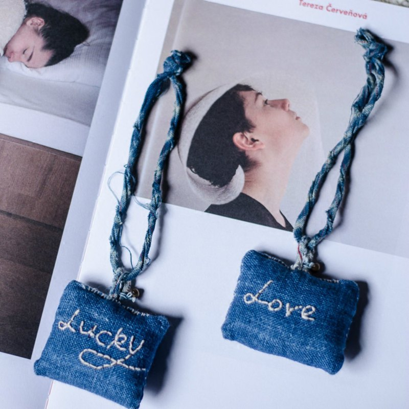 Lucky Love | Handmade Dyeing Lucky Bag Pendant Embroidery Love Couple Accessories Small Things Natural Plant Blue Lucky Bag Hanging Peace Talisman Girlfriends Birthday Boyfriend Girlfriend Birthday Gift | NAMSAN
