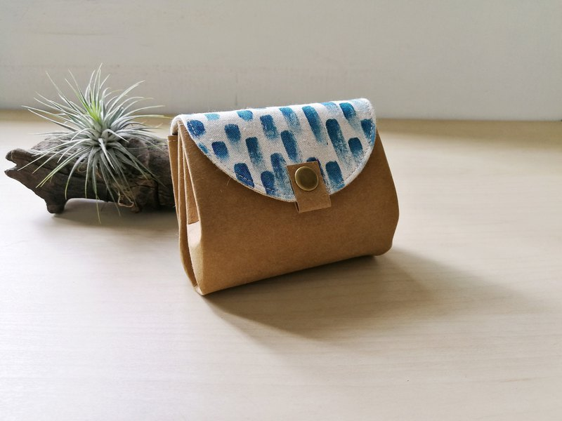 【Tibetan blue painted short organ wallet
