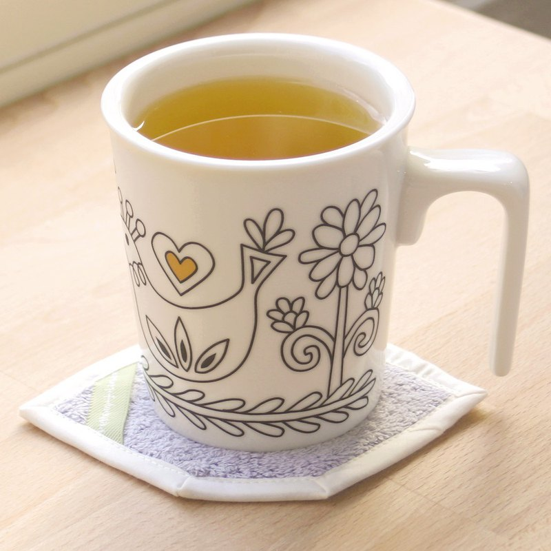 [Free Color Office] Nordic Birds Kiss Mug Cup Mat Ceremony