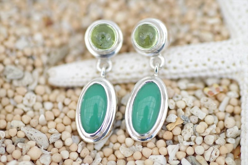 Beautiful green color of the natural stone chrysoprase and Peridot Earrings