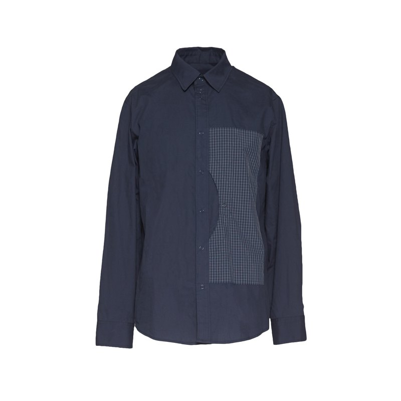 oqLiq - Reflective Plaid Shirt (Dark Blue)