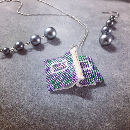 Misty Fountain Note Book Peyote Stitch Necklace