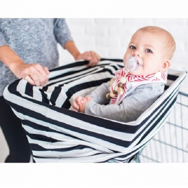 American Copper Pearl Multifunctional Seat Cover / Scarf Black and White Thick Stripes X000WFUK6X