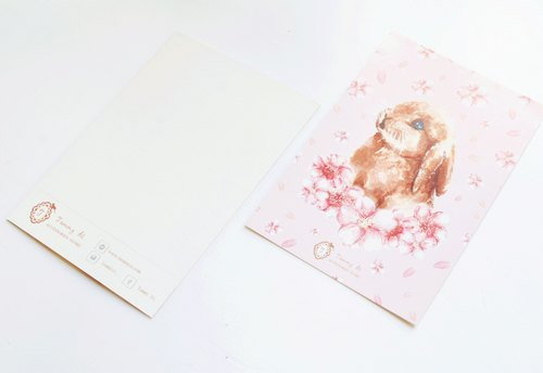 Sakura Bunny rabbit postcard pink cherry
