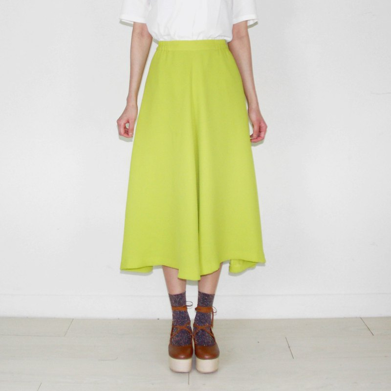 Fluorescent green-green chiffon vintage waist dress BH2050