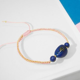 Edith & Jaz • Free Form Lapis with Pink Cord Bracelet