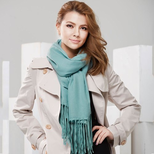 [ANGEL WOOLEN] Leading Fashion Pashmina Diamond Pattern Indian Hand Fringe Shawl Scarf