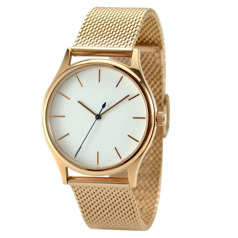 Minimalist Watch with Rose Gold thin stripes in Mesh Band - Free shipping worldwide