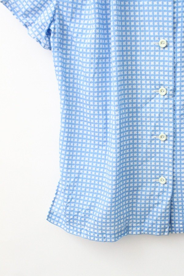 [RE0817T1575] aqua blue vintage houndstooth short-sleeved shirt