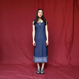 Pumpkin Vintage. Ancient straps denim dress