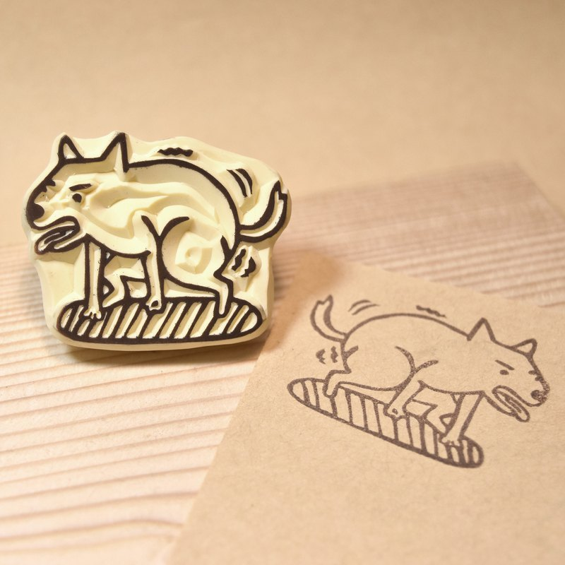 Defecation dog hand rubber stamp